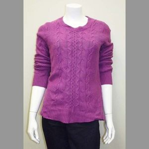 Pink/Purple Cable Knit Thick Women's Sweater - Lg